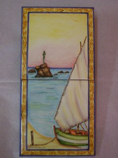 ( CODICE ARTICOLO: HI/12) Pannello 40x20 cm. dipinto a mano con veduta della monumento dedicato alla bagnante. Tecnica:maiolica