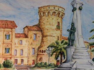 ( CODICE ARTICOLO: HI/10) Particolare del pannello decorato a mano con veduta del centro storico di  Vasto (P.zza Rossetti).Tecnica:maiolica