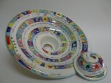 Lampadari in ceramica dipinti a mano.
