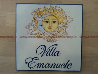 """cod.art: nc119 - Mattonella in ceramica cm 30x30 con decoro """"Sole e Luna"""" e scritta personalizzata. Ne vorresti una simile? Invia una richiesta e riceverai il preventivo con le spese di spedizione."""