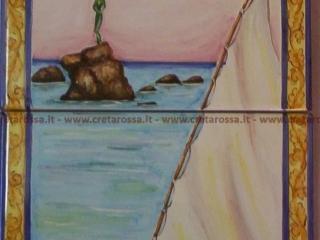 """cod.art: va33 - Pannello in ceramica con """"Sirenetta"""" di Vasto, dipinto a mano in base alla richiesta del cliente. Ne vorresti uno simile? Invia una richiesta e riceverai il preventivo con le spese di spedizione."""