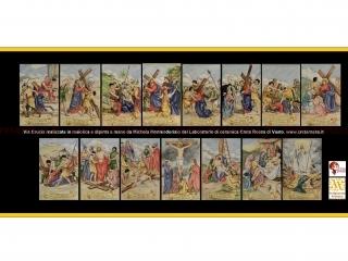 """cod.art: lc13 - Mattonelle cm 20x30 raffiguranti """"Via Crucis""""  Ne vorresti uno simile? Invia una richiesta e riceverai il preventivo con le spese di spedizione."""