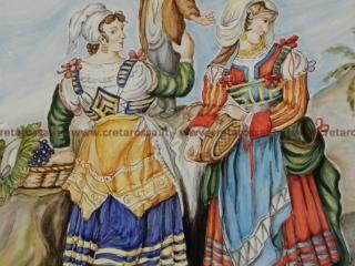 """cod.art: lc04 - Particolare piatto in ceramica da cm 35, raffigurante """"Costumi tradizionali abruzzesi"""". Ne vorresti uno simile? Invia una richiesta e riceverai il preventivo con le spese di spedizione."""