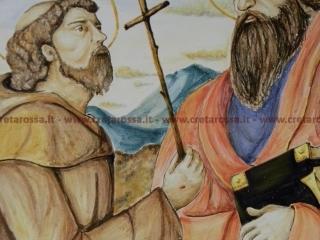 """cod.art: lc12 - Particolare piatto in ceramica da cm 35, raffigurante """"Santi Paolo e Francesco"""". Ne vorresti uno simile? Invia una richiesta e riceverai il preventivo con le spese di spedizione."""