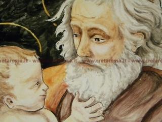 """cod.art: lc11 - Particolare piatto in ceramica da cm 35, raffigurante """"San Giuseppe con Bambino"""". Ne vorresti uno simile? Invia una richiesta e riceverai il preventivo con le spese di spedizione."""