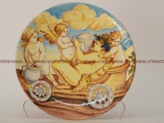 """cod.art: lc10 - Piatto in ceramica da cm 25, raffigurante """"Bacco"""". Ne vorresti uno simile? Invia una richiesta e riceverai il preventivo con le spese di spedizione."""