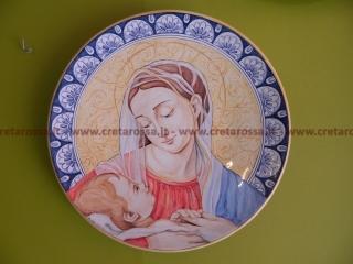 """cod.art: lc05 - Piatto in ceramica da cm 35, raffigurante """"Madonna con Bambino"""". Ne vorresti uno simile? Invia una richiesta e riceverai il preventivo con le spese di spedizione."""