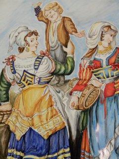"""(CODICE ARTICOLO: LC/05) """"Donne in costume"""" di Saverio della Gatta -  Opera liberamente interpretata - dipinta a mano su piastrella.Tecnica:maiolica"""