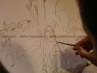 """""""Adorazione dei pastori Allendale con veduta di Vasto"""" Dipinto a mano da Michela  Laboratorio di ceramica Creta Rossa - Vasto - www.cretarossa.it"""