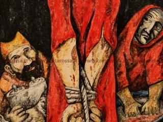 """cod.art: lc14 - Mattonella cm 20x30 raffigurante una tappa della """"Via Crucis"""". Opera ispirata dal dipinto di Sieger Koder. Ne vorresti uno simile? Invia una richiesta e riceverai il preventivo con le spese di spedizione."""