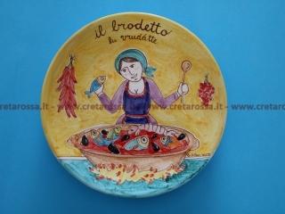 """cod.art: va41 - Piatto in ceramica dipinto a mano. """"Vasto Mia"""" Ne vorresti uno simile? Invia una richiesta e riceverai il preventivo con le spese di spedizione."""