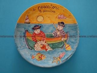 """cod.art: va48 - Piatto in ceramica dipinto a mano. """"Vasto Mia"""" Ne vorresti uno simile? Invia una richiesta e riceverai il preventivo con le spese di spedizione."""
