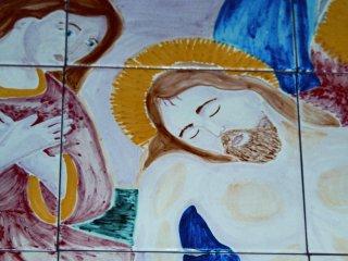 """(CODICE ARTICOLO: LC/02) """"La Deposizione"""" particolare del pannello 220x120 dipinto a mano.Tecnica: maiolica"""