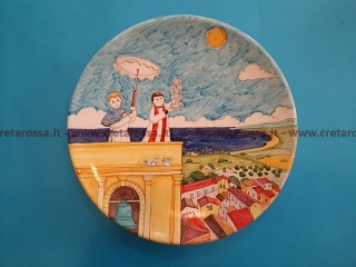 """cod.art: va59 - Piatto in ceramica dipinto a mano. """"Vasto Mia"""" Ne vorresti uno simile? Invia una richiesta e riceverai il preventivo con le spese di spedizione."""