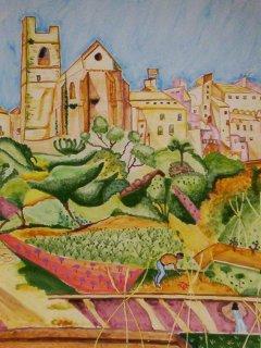 """""""Montroig: la chiesa e il paese"""" di J. Mirò - Piatto da 30c. di diametro  - particolare; Lavoro realizzato all'interno del laboratorio; Autrice: D.N. Tecnica: Maiolica."""