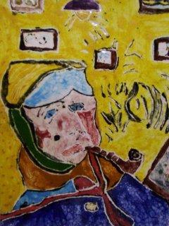 """""""Autoritratto"""" di V.Van Gogh - Lavoro realizzato all'interno del laboratorio. Autore: 7 anni; Tecnica: maiolica"""