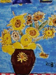 """I Girasoli"" di V.Van Gogh. Opera liberamnte interpretata da R.D.G.Tecnica: Maiolica"