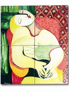 """""""Il sogno"""" di P. Picasso  - 40x40 cm. - particolare; Lavoro realizzato all'interno del laboratorio; Autrice: Silvia Quirini. Tecnica: Maiolica."""