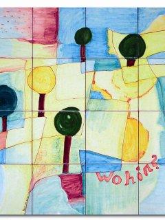 """""""Wohin...?"""" di P. klee  - 100x100 cm. - particolare; Lavoro realizzato all'interno del laboratorio; Autrice: Ivana De Leonardis. Tecnica: Maiolica."""