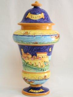 Creta Rossa dipinge Vasto: piatti in ceramica - tazze in ceramica - vassoi in ceramica - Orologi in ceramica - mattonelle in ceramica - TUTTO DIPINTO A MANO .