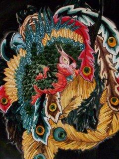 """""""La Fenice"""" di Hokusai - Piatto da 30 cm. di diametro  - particolare; Lavoro realizzato all'interno del laboratorio; Autrice: Deborah D'Alberto. Tecnica: Maiolica."""