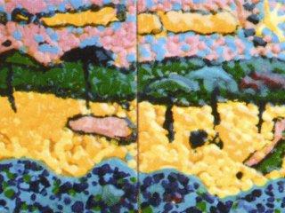 """""""Al mare"""" - particolare del pannello di cm.40x80, realizzato all'interno del laboratorio. Autori: 6 e 7 anni; Tecnica: maiolica"""