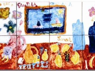 """""""Insieme"""" - particolare del pannello di cm.40x80, realizzato all'interno del laboratorio. Autore: 6 anni; Tecnica: maiolica"""