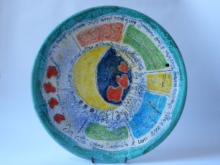 """( CODICE ARTICOLO: LM/04) """"Viaggiare..."""" - piatto murale da 35 cm dipinto a mano.Tecnica:maiolica"""
