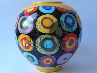 (CODICE ARTICOLO: VA/01) Vaso realizzato al tornio e decorato a mano con bolle .Tecnica: Maiolica