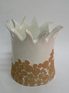 """""""Anemone"""" vaso realizzato a mano e smaltato con rilievi in terracotta - opera realizzata dalla corsista Deborah D'Alberto"""