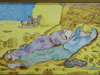 """""""Riposo dopo il lavoro"""" di V. Van Gogh- mattonnella in maiolica 20x30 - particolare. Lavoro realizzato durante i corsi tenuti all'interno del laboratorio. Autrice: Sonny"""