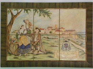 ( CODICE ARTICOLO: HI/03) Pannello dipinto a mano di cm. 40x60 con scena in costume  e veduta di Vasto antica. Tecnica: maiolica