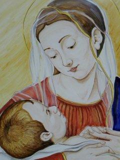 "(CODICE ARTICOLO: ARV/01) ""Madonna con Bambino"" dipinta a mano. Tecnica: maiolica"