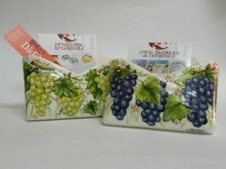 (CODICE ARTICOLO: PL/02) Portalettere da tavolo dipinti a mano con uva. Tecnica: maiolica