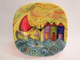 """(CODICE ARTICOLO: OR/02) Orologio da parete dipinto a mano con """"casotti"""". tecnica: maiolica."""
