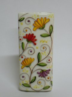 """(CODICE ARTICOLO: AB/02) Deumidificatore decorato a mano con decoro """"fiori di cera"""". Tecnica: Maiolica"""