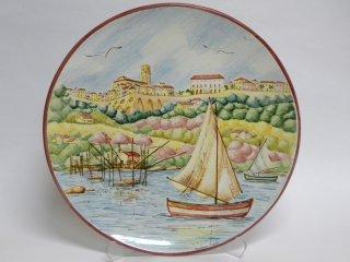 ( CODICE ARTICOLO: HI/02) Piatto murale in ceramica con la veduta di Vasto dal mare - tecnica: maiolica