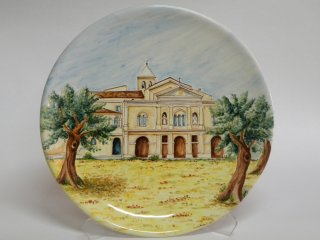 ( CODICE ARTICOLO: HI/01) Piatto murale in ceramica con la veduta della chiesa di Santa Maria Incoronata - tecnica: maiolica