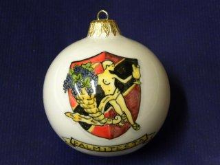 (CODICE ARTICOLO: AZ/31) Pallina di Natale in ceramica, dipinta a mano, con logo aziendale.Tecnica: maiolica