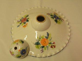( CODICE ARTICOLO: ILL/17) Lampadario in ceramica (parte superiore) dipinto a mano con decoro tipico abbruzese