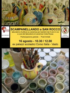Scamapnellanodo a San Rocco - 16 agosto 2012 - Corso Italia a Vasto. Laboratorio di ceramica per bambini a cura di Creta Rossa