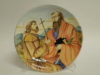(CODICE ARTICOLO: LC/09): Piatto in ceramica dipinto a mano raffigurante SS. Francesco e Paolo.Tecnica: maiolica