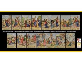 (CODICE ARTICOLO: LC/10):Mattonelle in ceramica dipinte a mano, raffigurante la via Crucis.Tecnica: maiolica