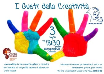 I Gusti dell Creatività - laboratoriodi ceramica per bambini a Vasto. 3 luglio 2013 presso la gelateria Biancaneve, alle 18.30.