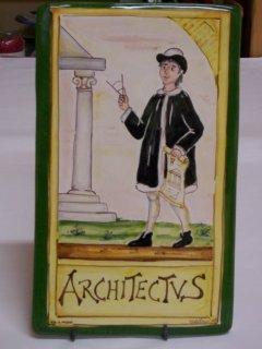 (CODICE ARTICOLO: MM/06) Mattonella fatta e decorata a mano con la rappresentazione del mestiere:architetto.Tecnica:maiolica