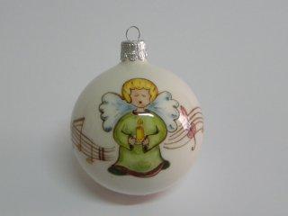 Pallina di natale in ceramica, dipinta a mano. Tecnica: maiolica